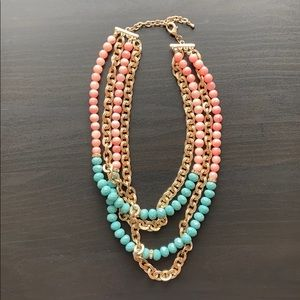 Pink and Blue Stone Layered Necklace
